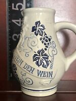 Pitcher Stoneware German Small 4.5 inch TRINKT WIE EURE VATER AUS STEIN DEN WEIN