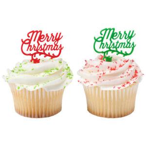 Christmas Cake Toppers Merry Christmas Cupcake Picks One Dozen