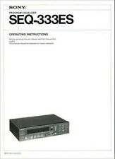 SONY SEQ-333ES Stereo Graphic Equalizer Operating Instruction EQ - USER MANUAL