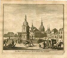 la Place et le Fontaine de la Sebada dans Madrid par Pieter van der Aa