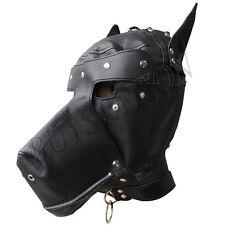 Faux Leather Dog Fetish Hood Full Mask Adult Unisex Blindfold Clubwear Costumes