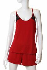 Linea Donatella Women's Pajama Set Red Lace Racerback Cami And Short Size M