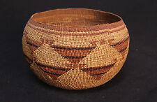 "N. CA Karok Basket: Snake Nose Motif MINT cond. c.1900 5 1/2"" x 9"" - yurok hupa"