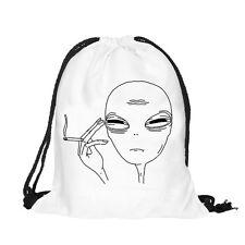 Men Women Fashion Backpacks Alien 3D Print Bags Drawstring Backpack Storage Bag