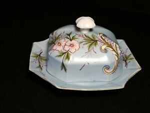 Vintage Light Blue Butter Dish With Lid Hand Painted Hibiscus Flower Cut Corners