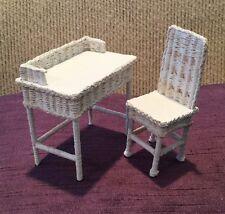 Vtg Handmade White Wicker Desk Table & Chair Dollhouse Miniatures