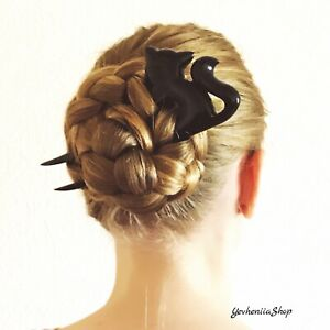 CARVED WOODEN HAIR FORK with Black CAT Decorative Comb Bun Holder Hair Barrette