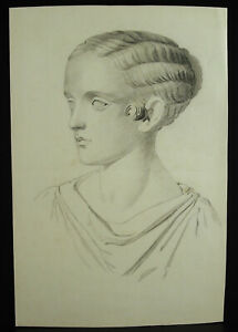 Drawing Original Towards 1900 After the Ancient Sculpture Greco-Roman Lady
