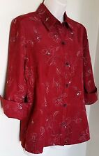 EUC SAG HARBOR 3/4 Sleeve Wine Suede Feel Button Front Shirt w/ Embroidery  S