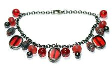 "Deep Red Beads and Charms on Gunmetal Chain Bracelet 8"" Preloved"