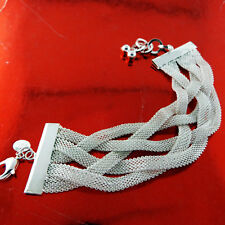 BRACELET BANGLE GENUINE REAL 925 STERLING SILVER S/F VINTAGE STRAND CUFF DESIGN