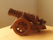 """Vintage Wooden Hand Carved Cannon ~ Decorative Ornament ~ Roughly 5""""H & 7 1/2""""L"""