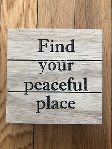 Find Your Peaceful Place Primitives By Kathy Inspirational Wooden Box Sign