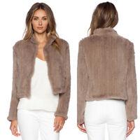 100%New Genuine Women Real Knit Rabbit Fur Jacket Coat Short Casual Outerwear