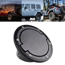 Aluminum Fuel Filler Door Gas Cap Lid Cover Black For 2007-2018 Jeep Wrangler JK