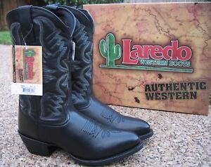 NEW Mens Laredo Birchwood Black All Leather Western Cowboy Boots Style 68450