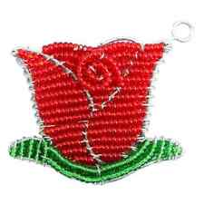 beadworx - rosa rossa portachiavi - Perlina LAVORO ERBA RADICI perline di vetro
