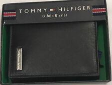 New Tommy Hilfiger Men's Leather Trifold & Valet Wallet Black Color $14.50