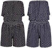 Women's Ladies Polka Dot Frill Bandeau Short Playsuit ladies play suit SIZE 8-24