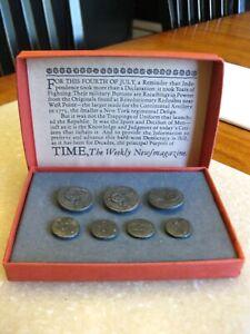 Vintage Revolutionary War Pewter Military Button Replica Set, Time Magazine 1969