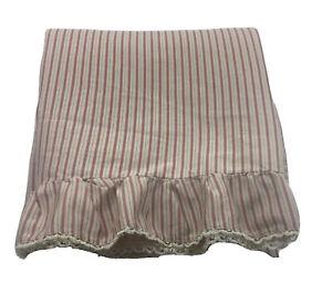 Ralph Lauren Grosvenor Square Stripe Queen Flat Sheet Ruffle Made Italy Sateen