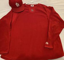 St. Louis Cardinals Majestic Authentic XL Fleece LS Shirt w/ New Era Cap 7 1/2