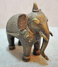 Original Old Antique Hand Crafted Very Fine Engraved Brass Elephant Figurine