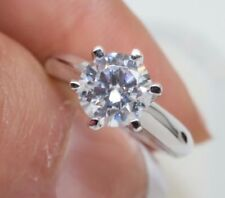 Solitaire Diamond Engagement Ring 1ct 14k White Gold Toned Round Cut Size 8.5