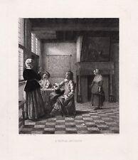 "Interesting Pieter de HOOCH 1800s Antique Etching ""A Dutch Interior"" SIGNED COA"