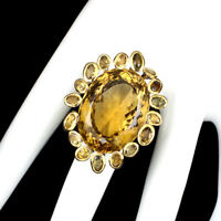 Handmade Oval Citrine Quartz 41.64ct Tourmaline 925 Sterling Silver Ring Size 8