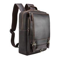 """Men Leather Business Backpack 16"""" Laptop Travel Bag Outdoor Daypack School Bag"""