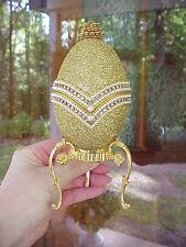 REAL Decorated Goose Egg Keepsake/Trinket/ Music Box Gold Glitter