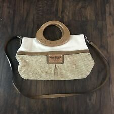 Relic Brand Collection Ivory Straw Canvas Wood Handle Satchel Bag Crossbody