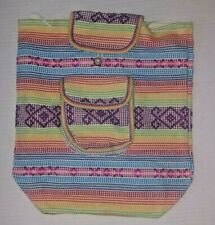 Back Pack Mexican Canvas pastel Colors Purple Aztec triangles Southwest
