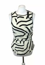 Tibi New York Top Blouse Rear Zipper Geometric Wool Silk BNWT Women's 6 US 10 UK