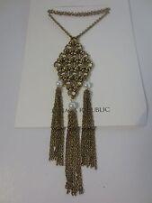 Banana Republic Gold Link Pearl Tri Tassel Long Necklace NWT $98