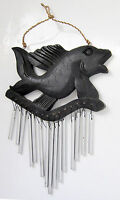 FISH-shaped Aluminium & wood Wind Chime, 50 cm from top to bottom, 25 cm wide