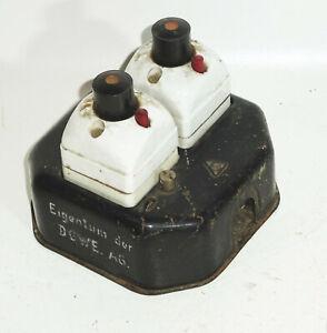 Alter Sicherungs Automat Haussicherung Elektrik Porzellan Metall Deko Industrie