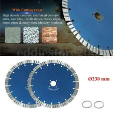 2 X  9'' 230mm Diamond Cutting Blades Discs Concrete Cut Tool For Angle Grinder