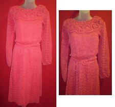 Vintage 60s~OSCAR de LA RENTA Coral Pink Crochet Knit Dress Size 7/8 (M)