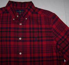 NWT Ralph Lauren RED/NAVY/GREEN PLAID Button-Down Shirt POLO PONY Boys XL 18/20