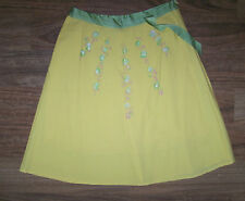 NWT $40 FLAUNT 16 YELLOW COTTON BLEND FULLY LINED FLARED SKIRT w GREEN TRIM