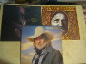 3 LP  WILLIE NELSON , PARTNERS , TOUGHER THAN LEATHER , WHAT A WONDERFUL WORLD