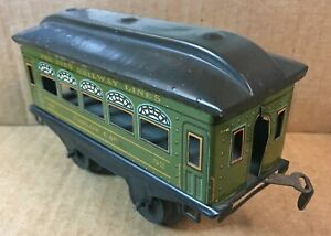 "IVES RAILWAY LINES PREWAR TIN # 52 PARLOR PASSENGER CAR 5'' LONG  ""O"" GAUGE"