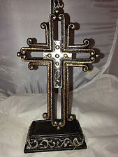 Western Style Hand Tooled Leather Look Pedestal Cross (RA4726B)