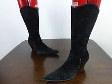 "Womens boots size 3 At Last black suede mid calf 2"" cuban heels ladies EUR 36"