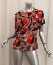 MARNI Womens $612 Multicolor Draped Short-Sleeve Blouse Top Shirt 40/4 S NEW NWT
