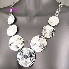 Big Retro Gypsy Boho Silver Rhodium Pltd Sunburst Mandala Lilypad Discs Necklace