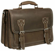 HIDEONLINE RUGGED MUD BROWN CRAZY HORSE LEATHER BRIEFCASE/BACKPACK/SATCHEL BAG