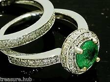 R199 Genuine 9ct WHITE Gold NATURAL Diamond & Emerald Ring Engagement Set size M